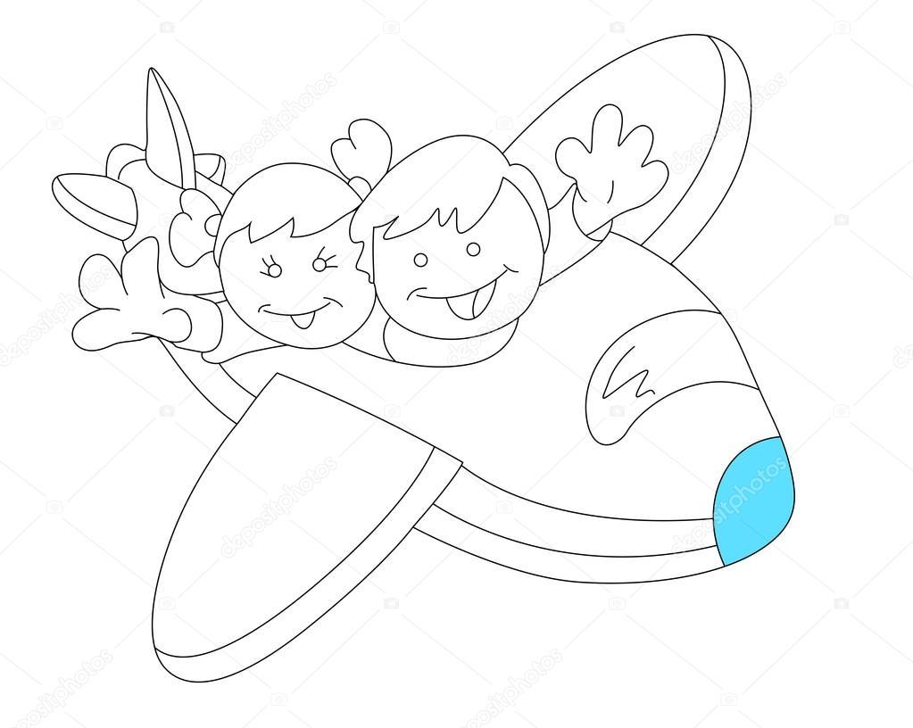 1023x816 Happy Kids In Plane Sketch Stock Vector Baavli