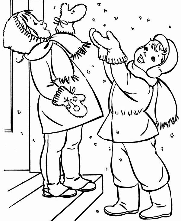 600x731 Two Happy Kids Cheering The First Winter Snow Coloring Page