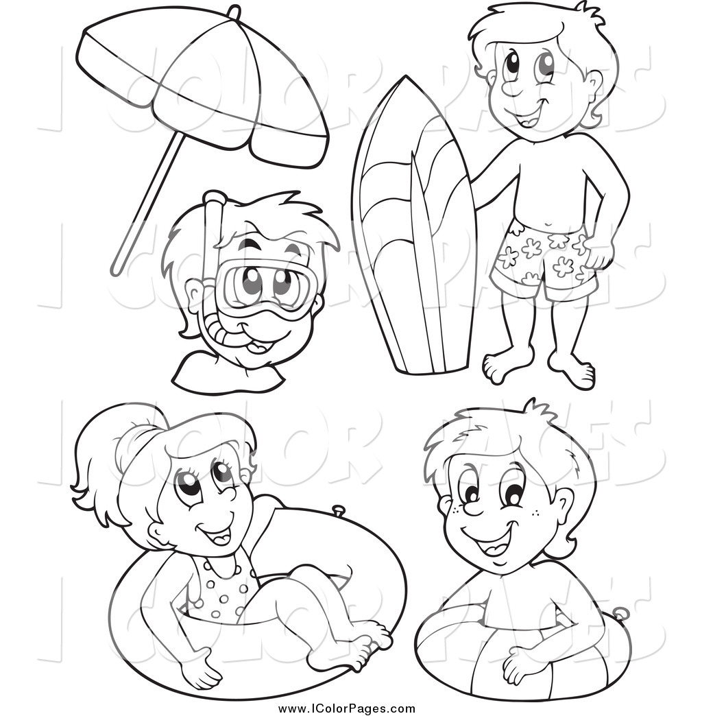 1024x1044 Vector Coloring Page Of Black And White Happy Kids With Summer