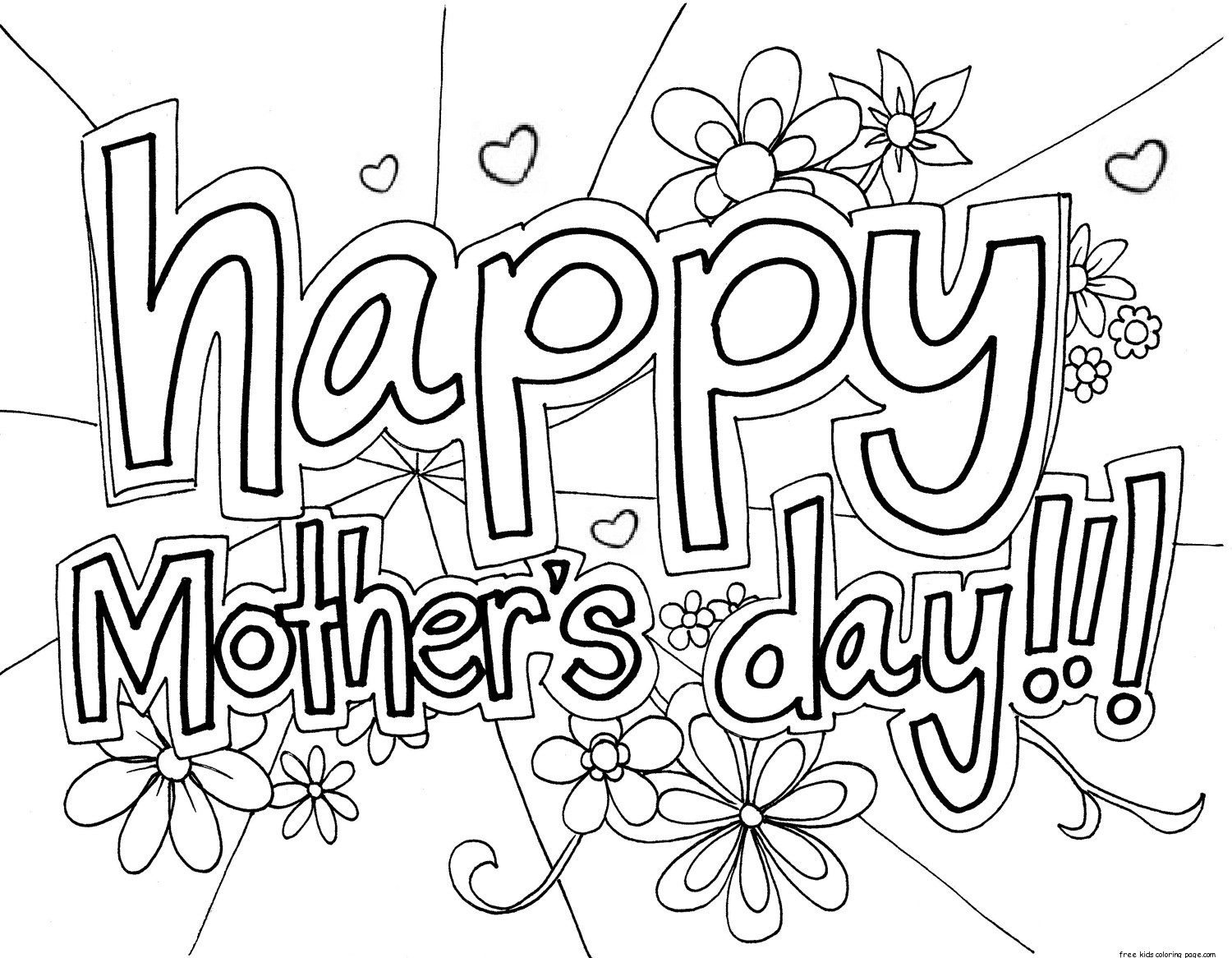 photo about Free Printable Coloring Mothers Day Cards referred to as Pleased Moms Working day Drawing at  Totally free for