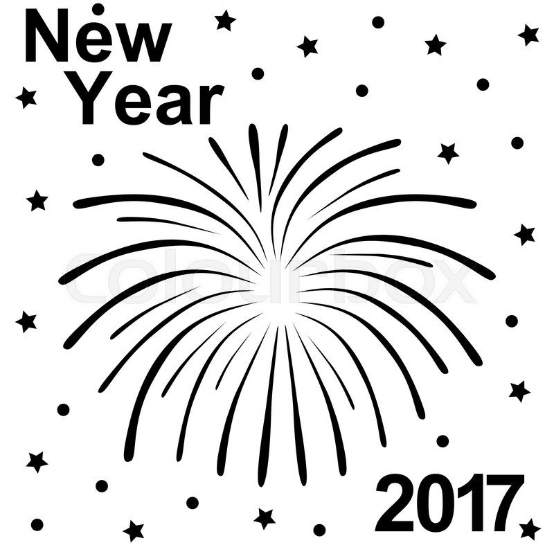 800x800 Happy New Year 2017 Text And Fireworks Silhouette On A White