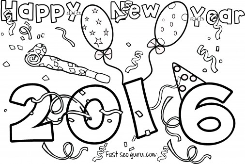 506x338 Happy New Year 2016 Coloring Pages For Kids