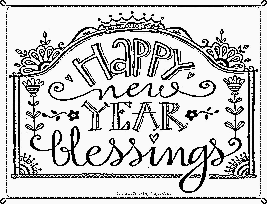 1074x818 Printable Happy New Year Coloring Pages 2018