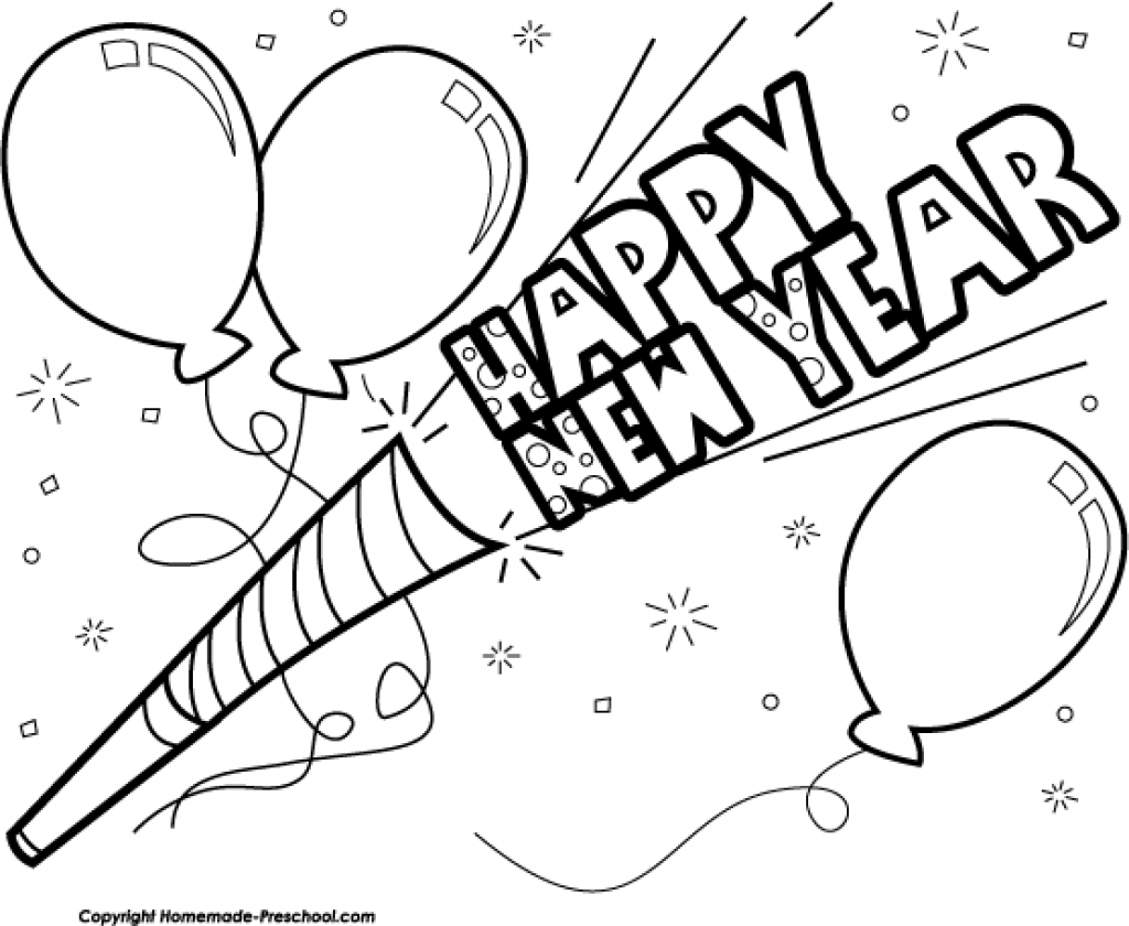 1024x840 Happy New Year Black And White Clip Art Archives