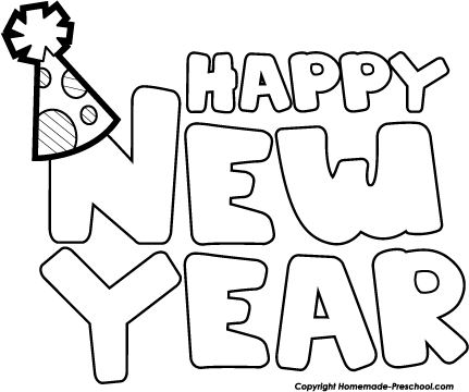 431x360 Happy New Year Black And White Clipart