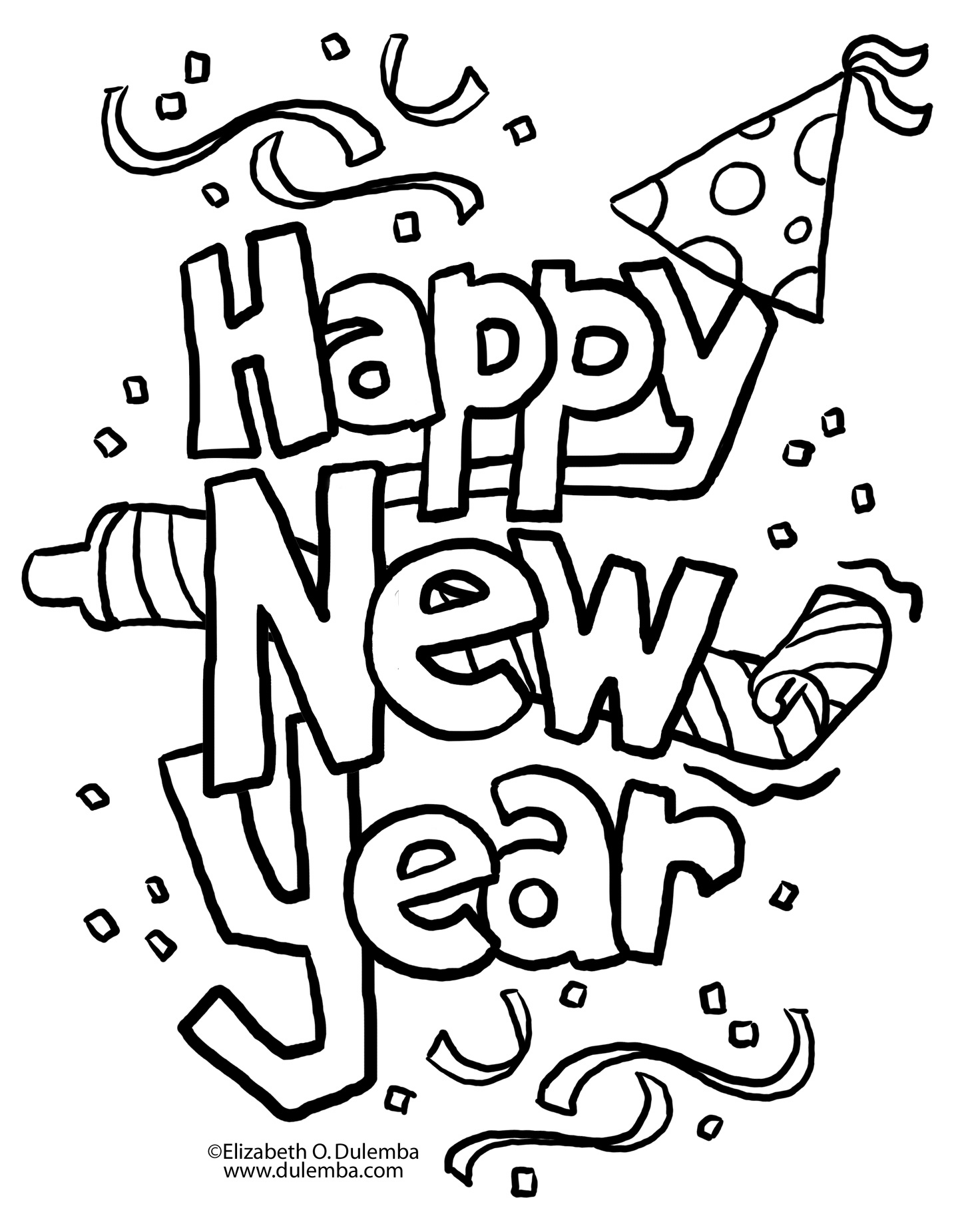 1439x1851 Happy New Year Coloring Pages