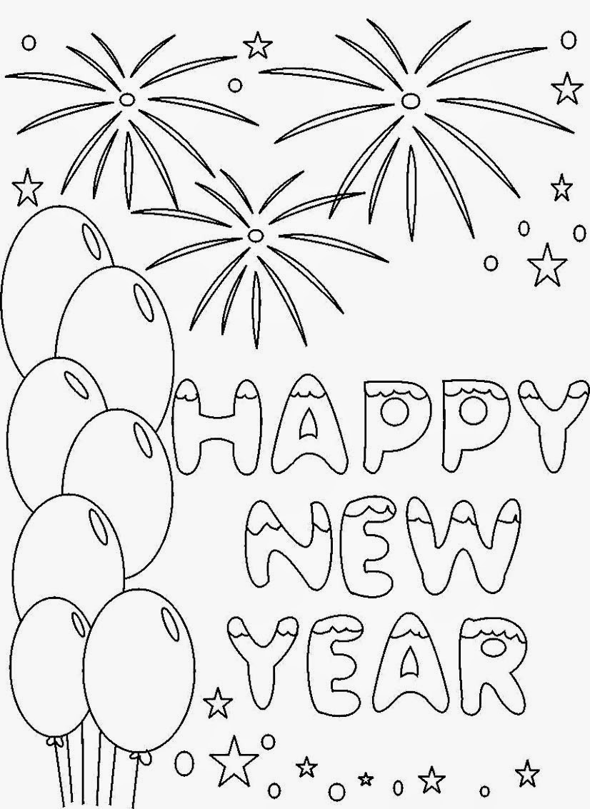 826x1133 Happy New Year Coloring Pages