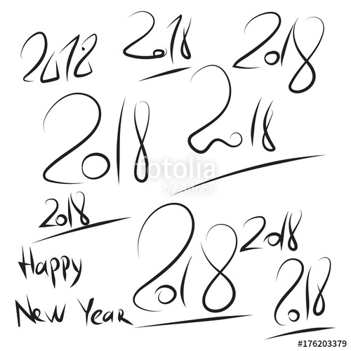 500x500 Set Hand Drawn 2018 Happy New Year Script. Vector Sketch Pen