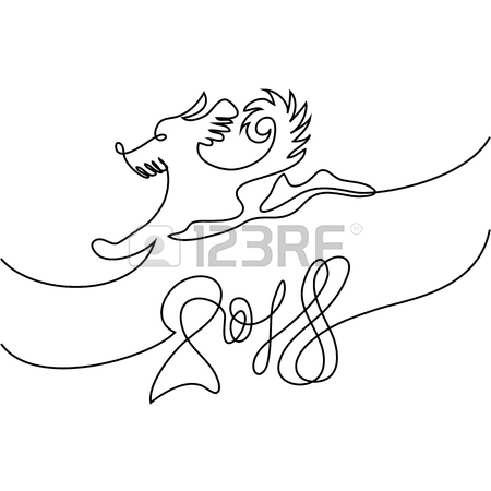 450x450 Continuous Line Drawing. Happy New Year 2018 Design With Dog