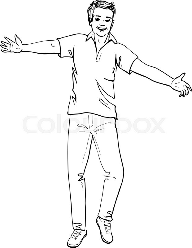 620x800 Hand Drawn Sketch Of Happy Man Isolated On White Stock Vector
