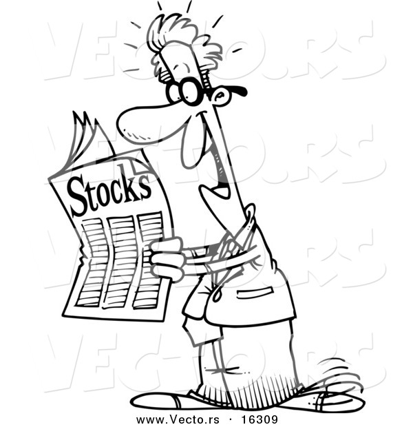 600x620 Vector Of A Cartoon Happy Man Reading The Stocks Pages