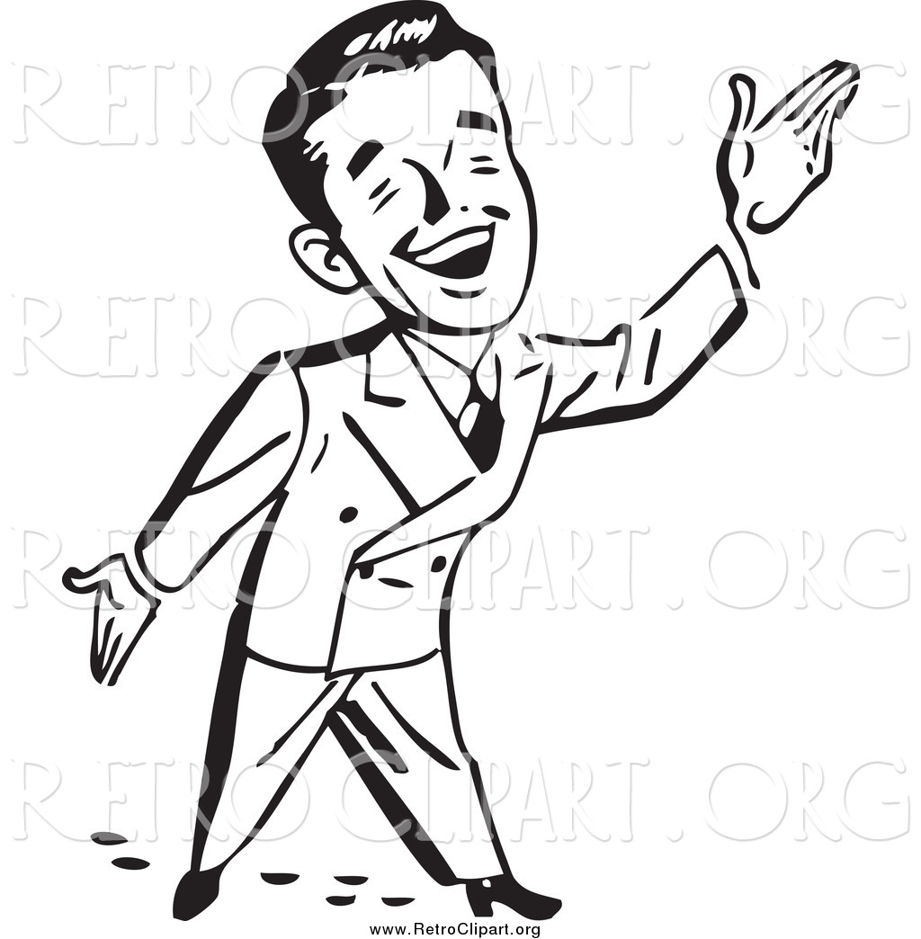 1024x1044 Clipart Of A Black And White Happy Retro Businessman Gesturing Up