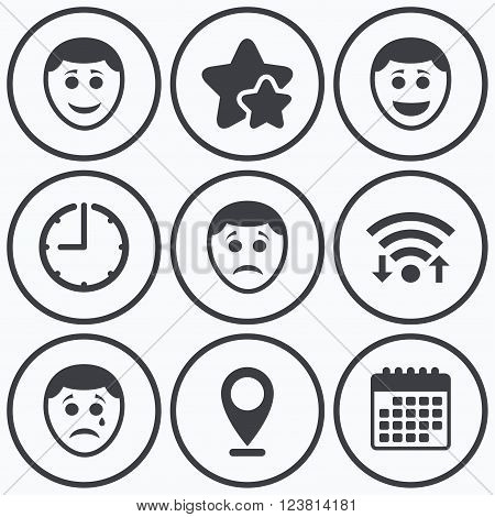 450x470 Clock, Wifi Stars Icons. Human Vector Amp Photo Bigstock