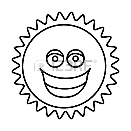 450x450 Figure Sticker Happy Sun Icon, Vector Illustraction Design Royalty