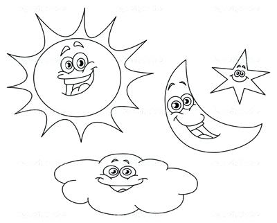 400x322 Good Sun And Moon Coloring Pages Fee Clouds Page Image Images