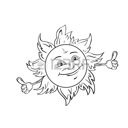 450x450 Happy Smiling Sun Isolated On White Drawing Style Black And White