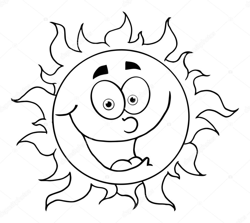 1023x913 Outline Of A Happy Sun Stock Photo Hittoon