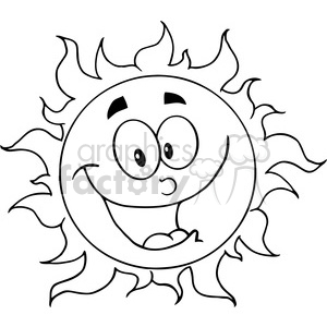 300x300 Royalty Free 12895 Rf Clipart Illustration Happy Sun Cartoon