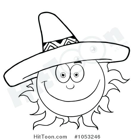 450x470 Sombrero Coloring Page Outline Of A Happy Sun Wearing A Sombrero