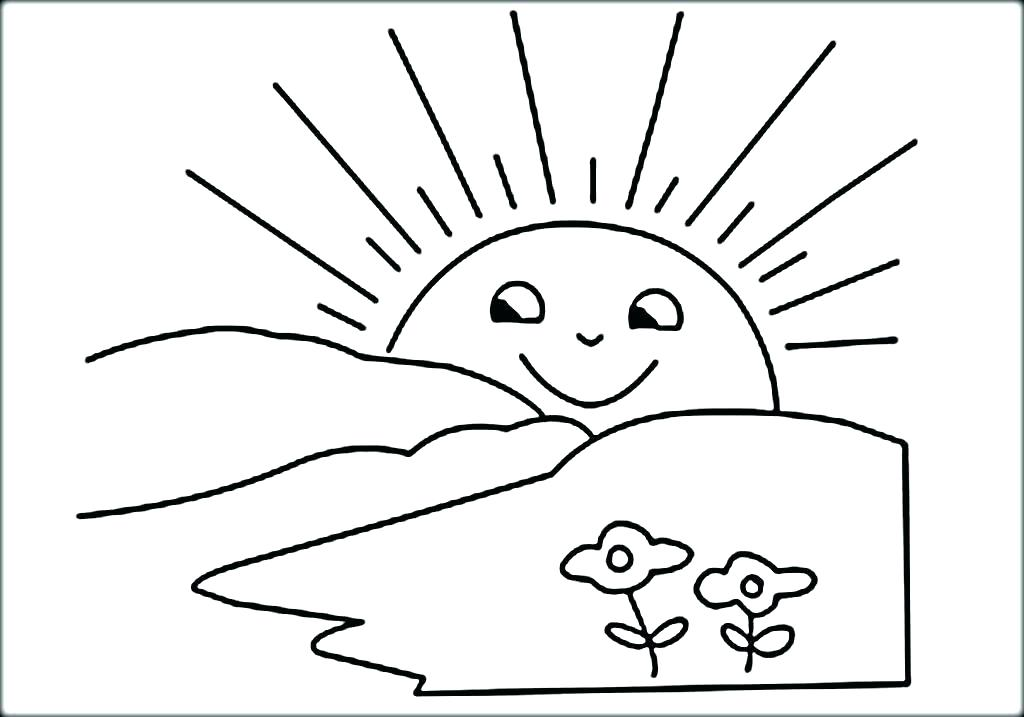 1024x717 The Sun Coloring Pages Kids Color Page S For Happy Smile Sun