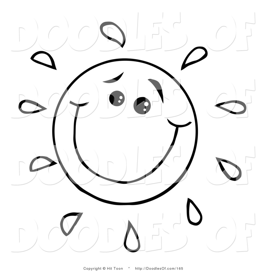 1024x1044 Vector Clipart Of Coloring Page Of Happy Doodled Sun