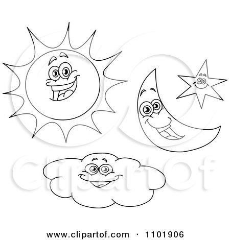 450x470 Clipart Outlined Happy Sun Crescent Moon Star And Cloud Characters