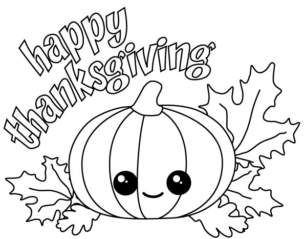 594x466 Happy Thanksgiving Kawaii Pumpkin With Fall Leaves. Try