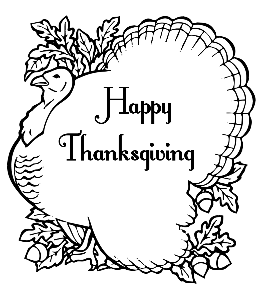 1043x1200 Happy Thanksgiving Turkey Clipart Black And White