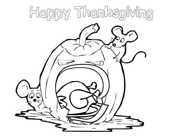 580x448 Simple Happy Thanksgiving Coloring Pages Online