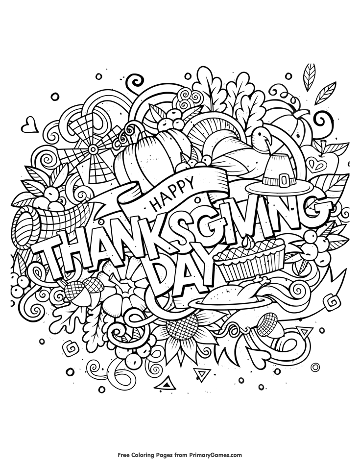 735x951 Thanksgiving Coloring Pages Ebook Happy Thanksgiving Day Free