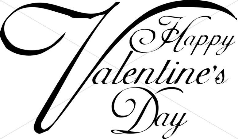 776x454 Happy Valentine's Day Script Typography Secular Holiday Word Art