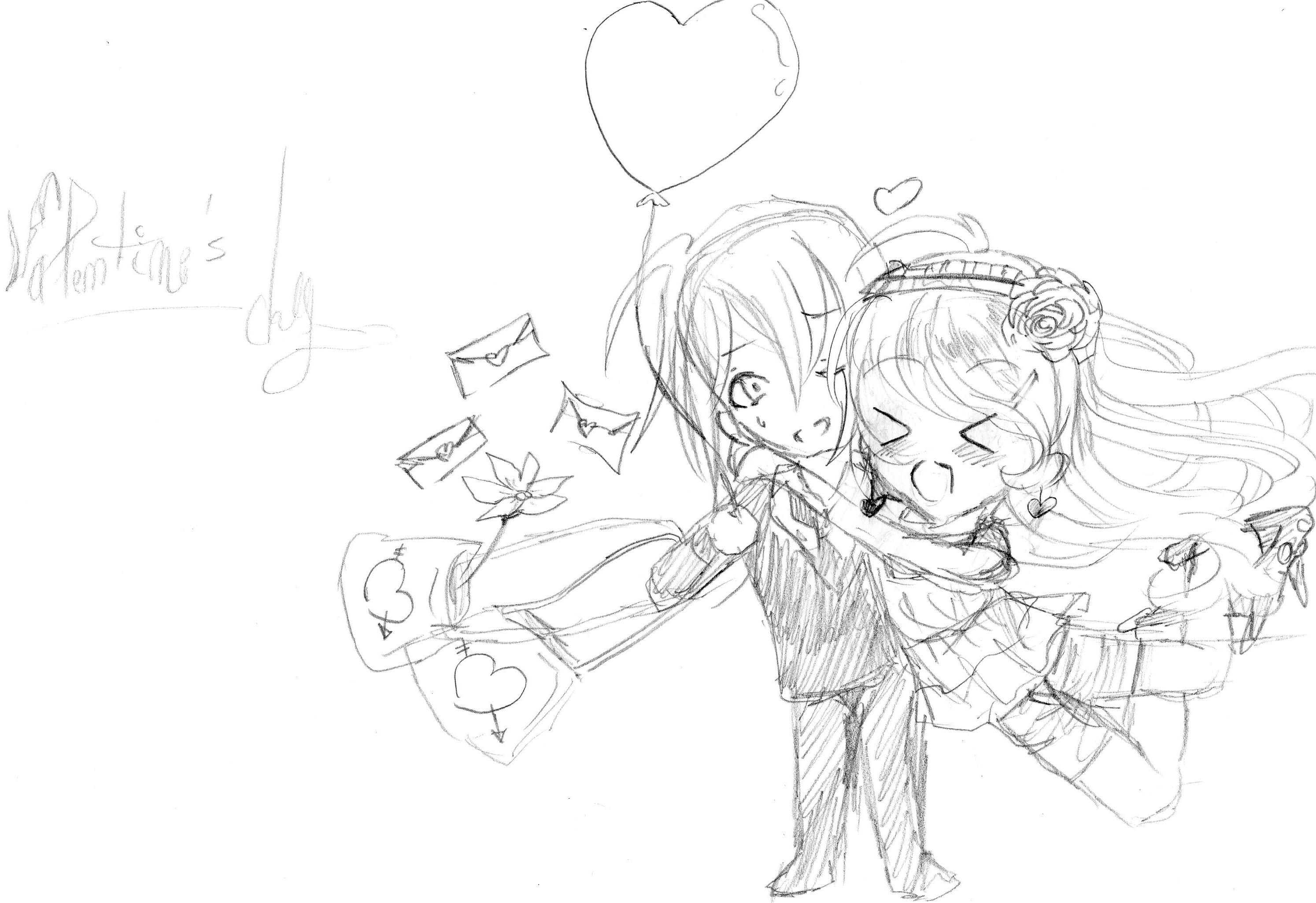 2988x2051 Gallery Happy Valentine Day Pencil Sketch,