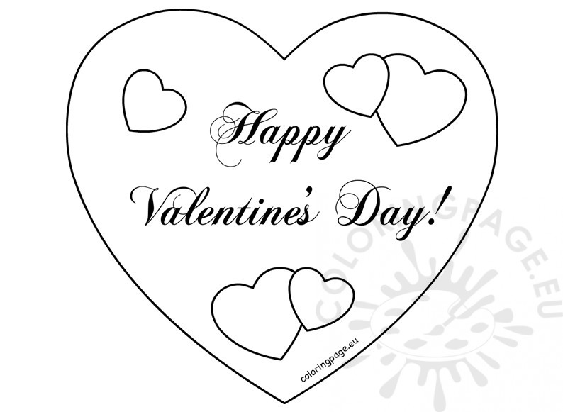 794x581 Happy Valentine's Day Hearts Card Coloring Page