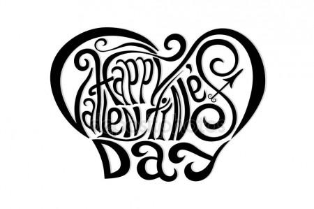 450x299 Happy Valentines Day Hand Drawing Lettering Design. Black On White