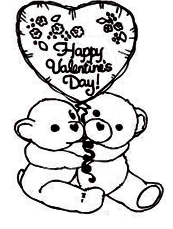 600x795 Two Cute Bear Say Happy Valentine39s Day Coloring Page
