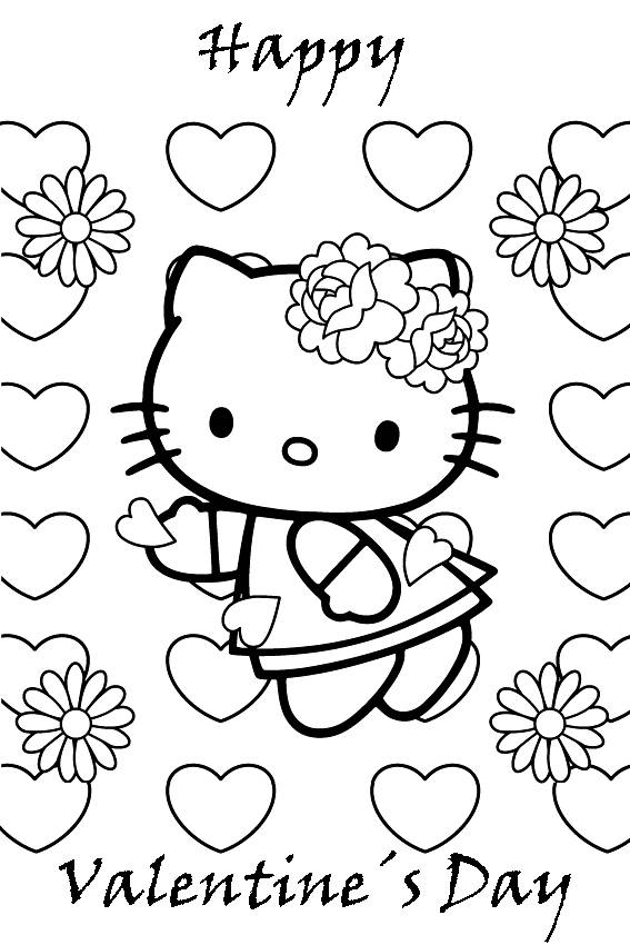 567x850 Cute Hello Kitty Happy Valentines Day Coloring Pages
