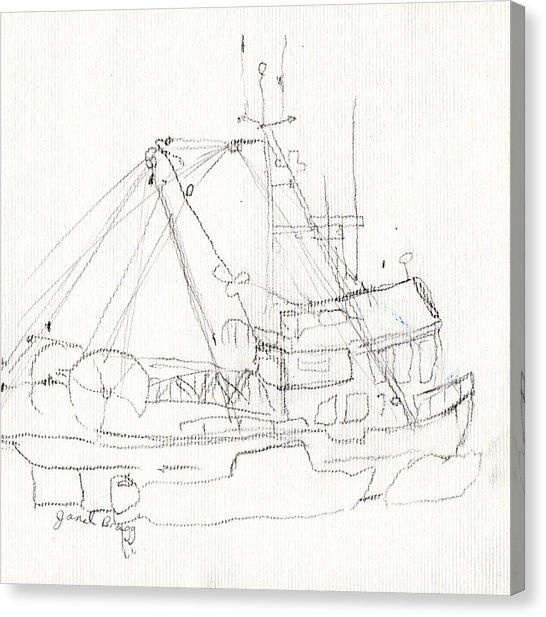 546x617 Fishing Boat In Anacortes Harbor Drawing By Janel Bragg