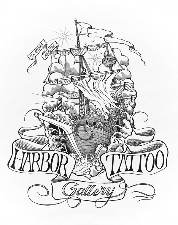 600x757 Harbor Tattoo Nautical Illustration On Behance