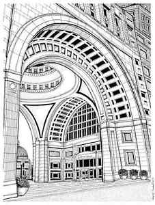 227x300 Rowes Wharf Boston Harbor Hotel 8.5x11 Drawing Ebay