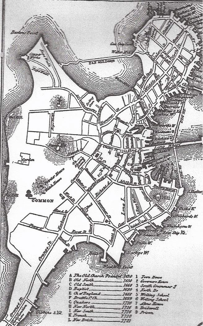 656x1056 Old Map Boston Harbor Map Of Boston, Circa 1722 Boston History
