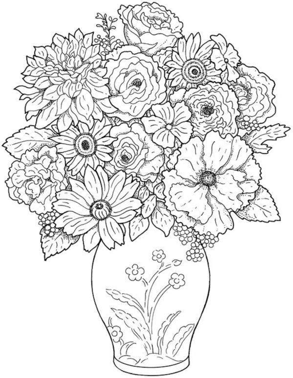 600x773 Remarkable Hard Flower Coloring Pages 97 In Line Drawings