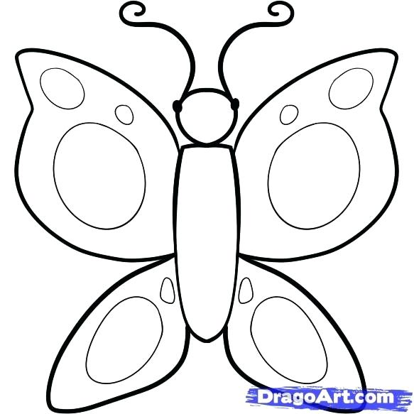 583x583 Sketching For Kids How To Draw A Butterfly For Kids Coloring Pages