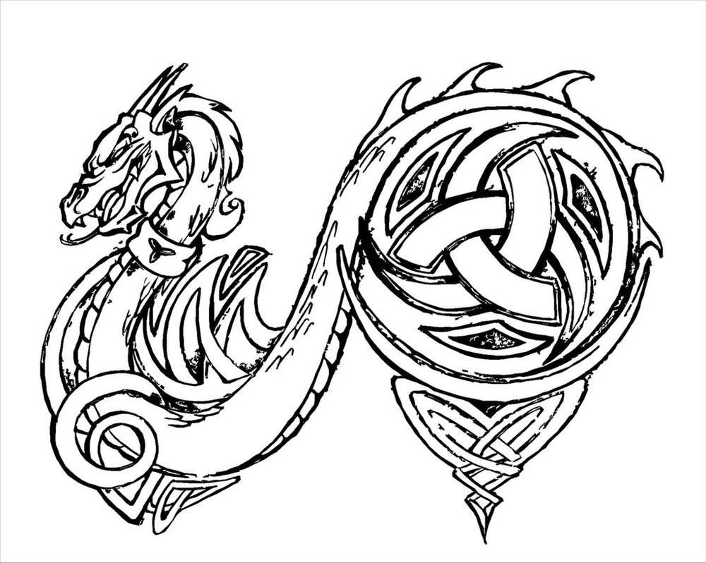 1000x798 Line Drawings Of Dragons Dragon Tattoo Hard Line By