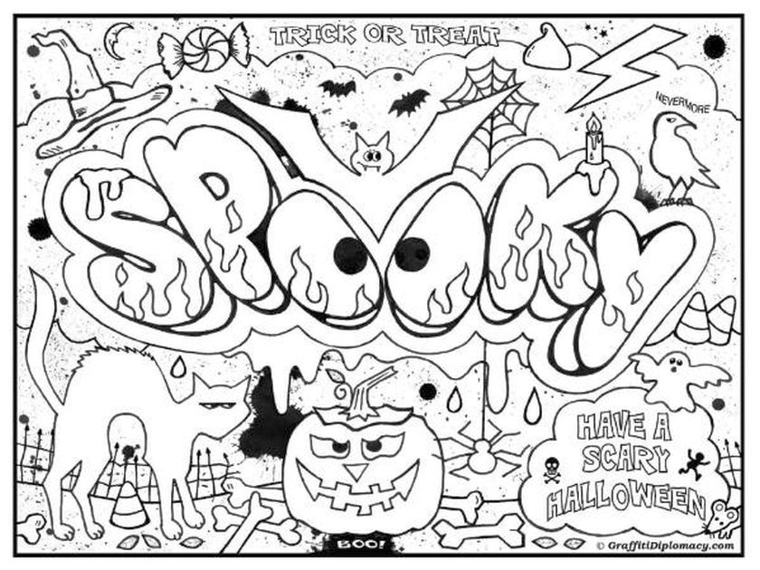 840x630 Coloring Pages Halloween Difficult For Kids