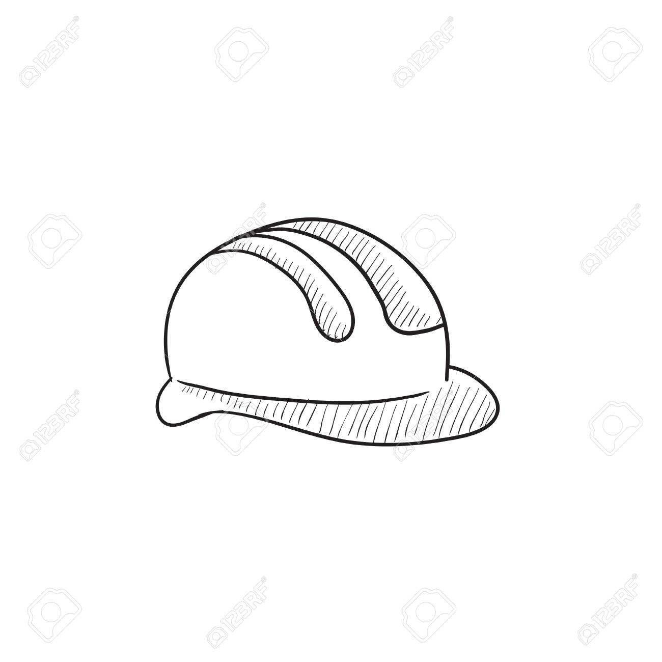 1300x1300 Hard Hat Vector Sketch Icon Isolated On Background. Hand Drawn
