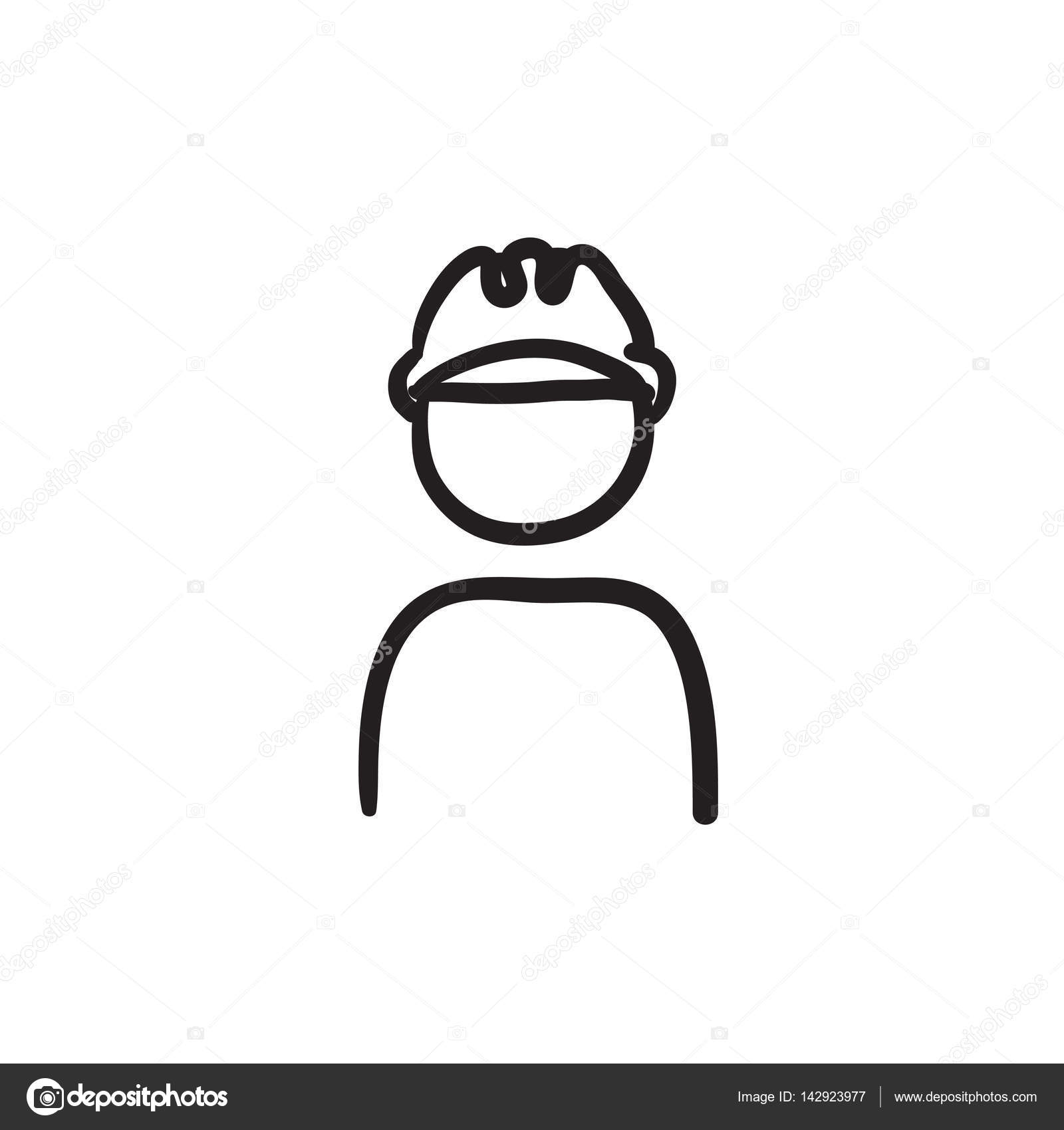 1600x1700 Worker Wearing Hard Hat Sketch Icon. Stock Vector Rastudio