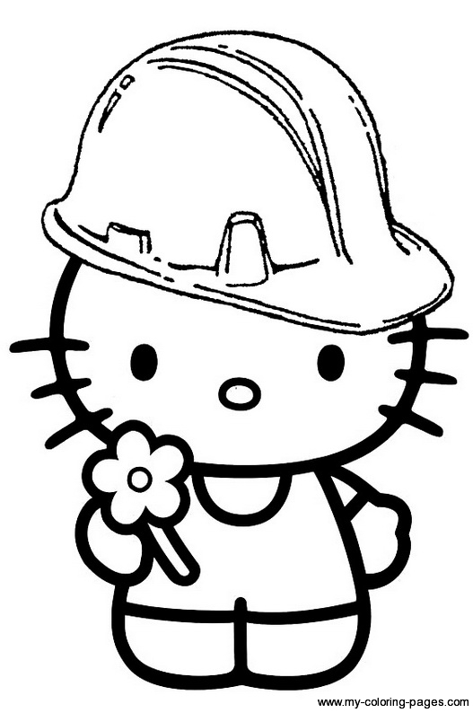527x794 Hello Kitty Hard Hat Colouring Page