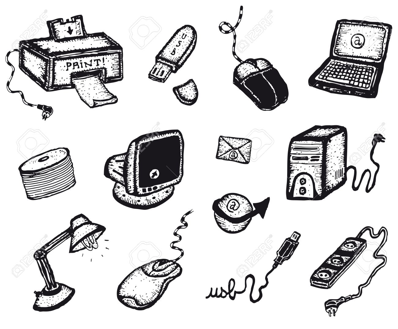 1300x1074 Illustration Of A Set Of Software And Hardware Computer Including