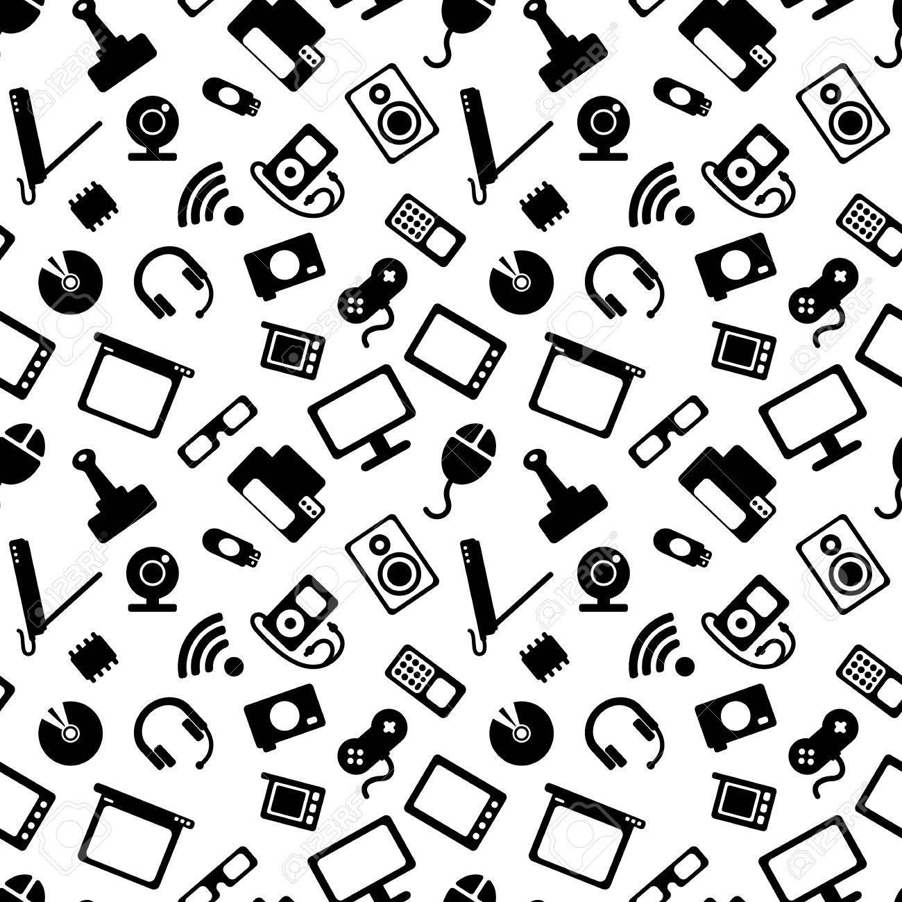 1300x1300 Seamless Pattern With Electronics, Computer Hardware And White