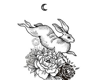 340x270 Hare Illustration Etsy